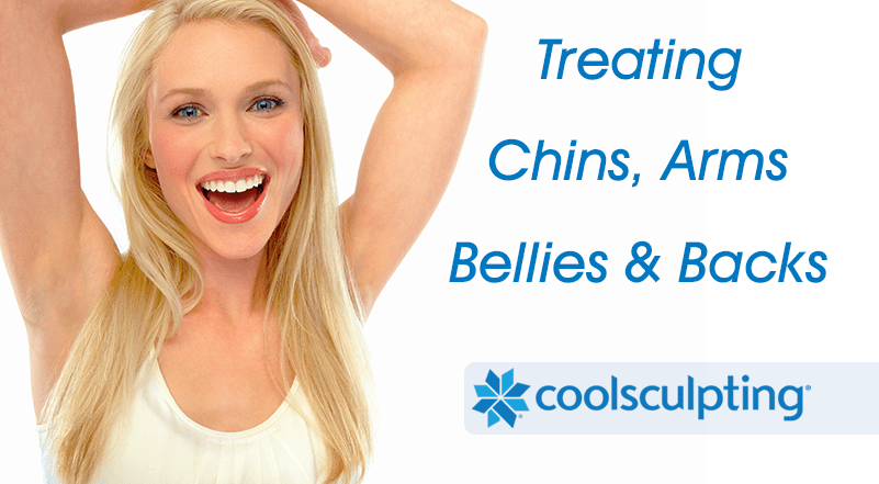 CoolSculpting Fat Reduction without Surgery Treating Chins, Arms, Bellies and Backs